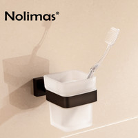 SUS 304 Stainless Steel Single Toothbrush Glass Cups Holder Black Toothbrush Cup Holders Bathroom Accessories