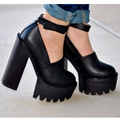 2017 New Look Ankle Strap Platform Ladies Chunky Sole Block Heel Shoes Women Size 34-39 Black White