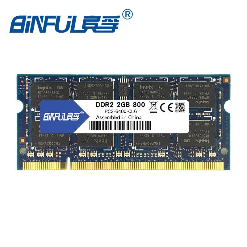 Binful DDR2 2GB 800MHz RAM PC2-6400s piezīmjdatora klēpjdatora atmiņas disks 1.8V SO-DIMM 200pin Savietojams ar 667mhz