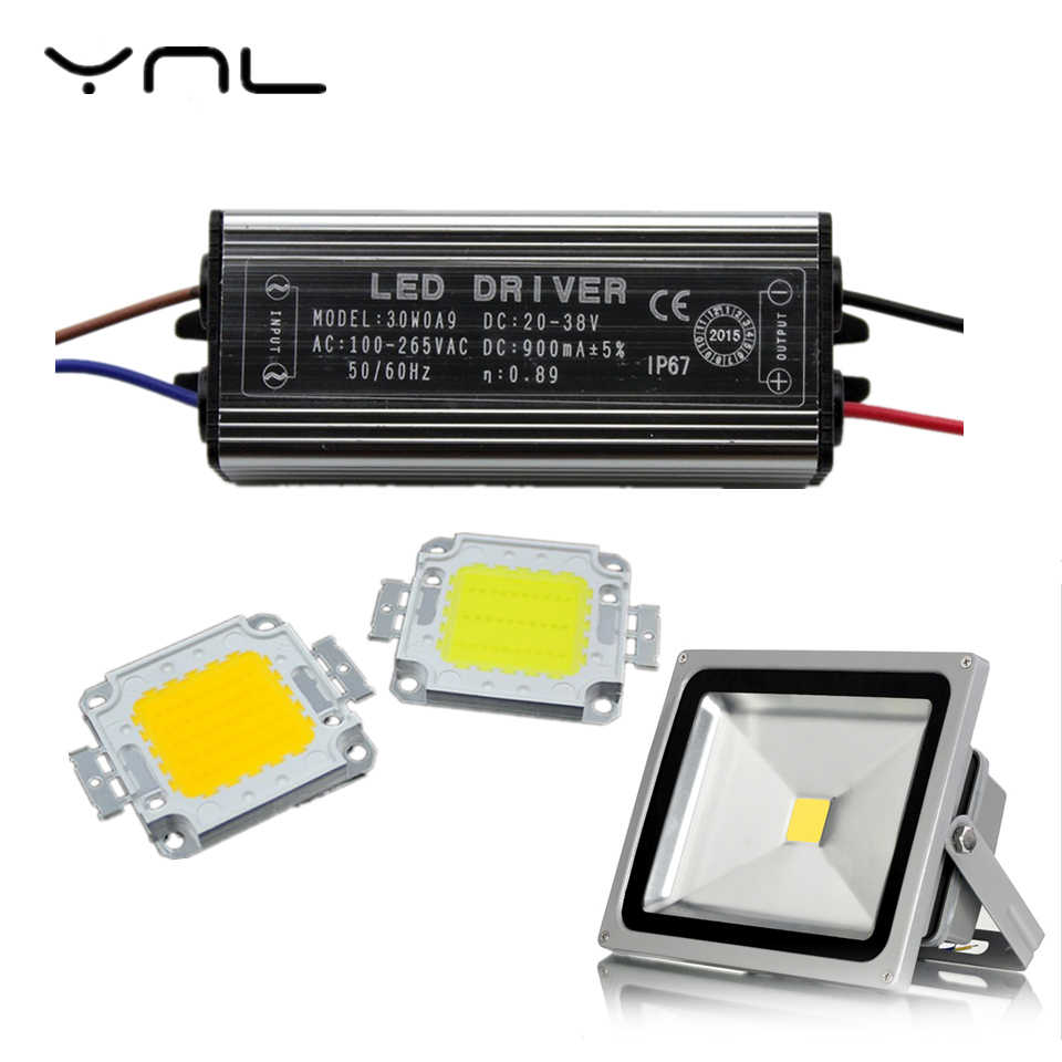 YNL Flood light Real High Power 50W 30W 20W 10W COB LED Integrated Chip LED Lamp Chip & Driver Set High Brightness Floodlight