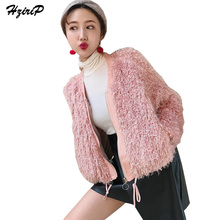 Фотография HziriP Faux Fur Jacket Coat Winter Women Warm Hairly Soft Short Jackets Autumn Chic 2017 Fashion Casual Female Overcoat Girls
