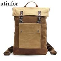 Vintage Waterproof Canvas Leather Laptop Backpacks for Men College Students School Bags Teenagers Women Travel Daypacks