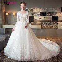 Белый Vestidos De Noiva 2018 элегантный плюс размеры Свадебное платье es свадебное Тюль аппликации Принцесса кружевное свадебное платье ES1789