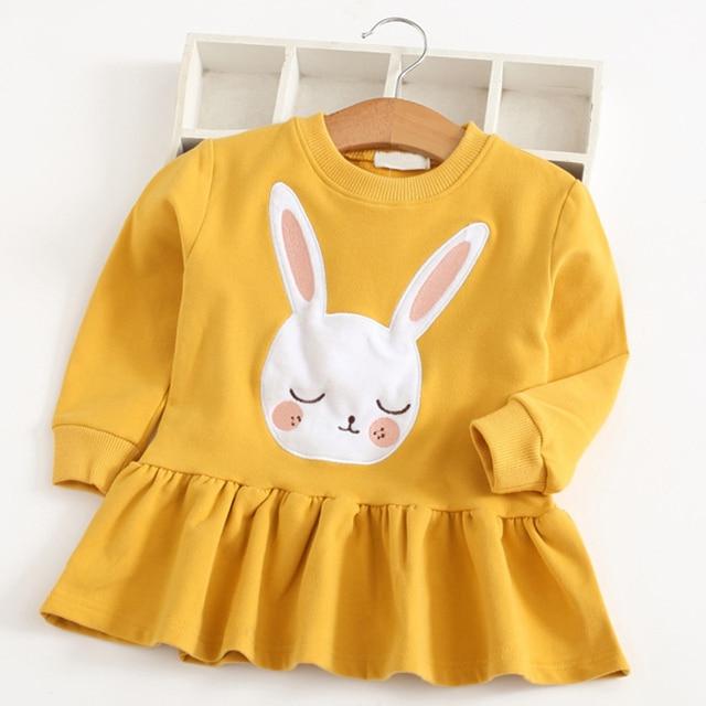 Весеннее платье для девочек, коллекция 2018 года, детская одежда с кроликом, милая одежда с длинными рукавами и рисунком для маленьких девочек, платье с принтом кролика, Детская осенняя одежда