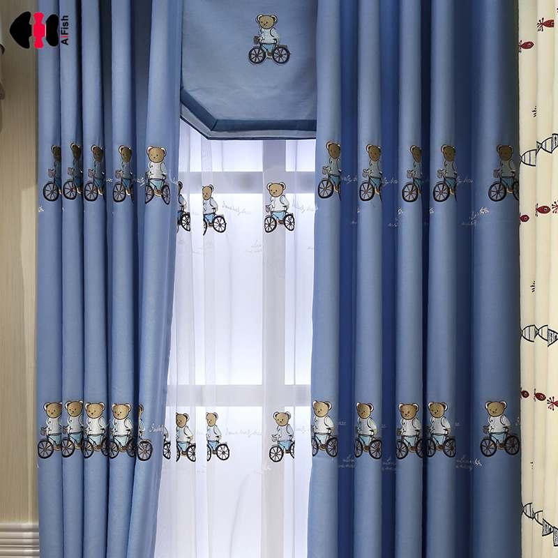 Cartoon Linen Cotton Boy Bedroom Curtains Embroidery: Aliexpress.com : Buy Cute Kids Boys Children Cartoon Teddy