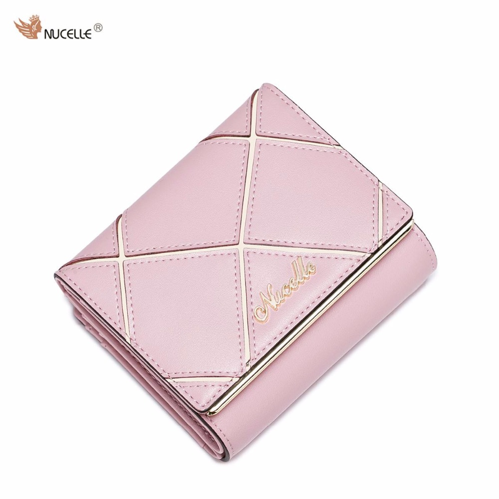 ФОТО NUCELLE Brand New Design Fashion Quilting Genuine Cow Leather Ladies Women Short Wallets Cards Holder Gift For Girl