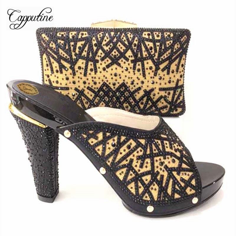 Capputine Fashion Italian Style Slipper Shoes And Bags Set For Party Hot Selling Italian PU Crystal Black Shoes And Bag SetCapputine Fashion Italian Style Slipper Shoes And Bags Set For Party Hot Selling Italian PU Crystal Black Shoes And Bag Set