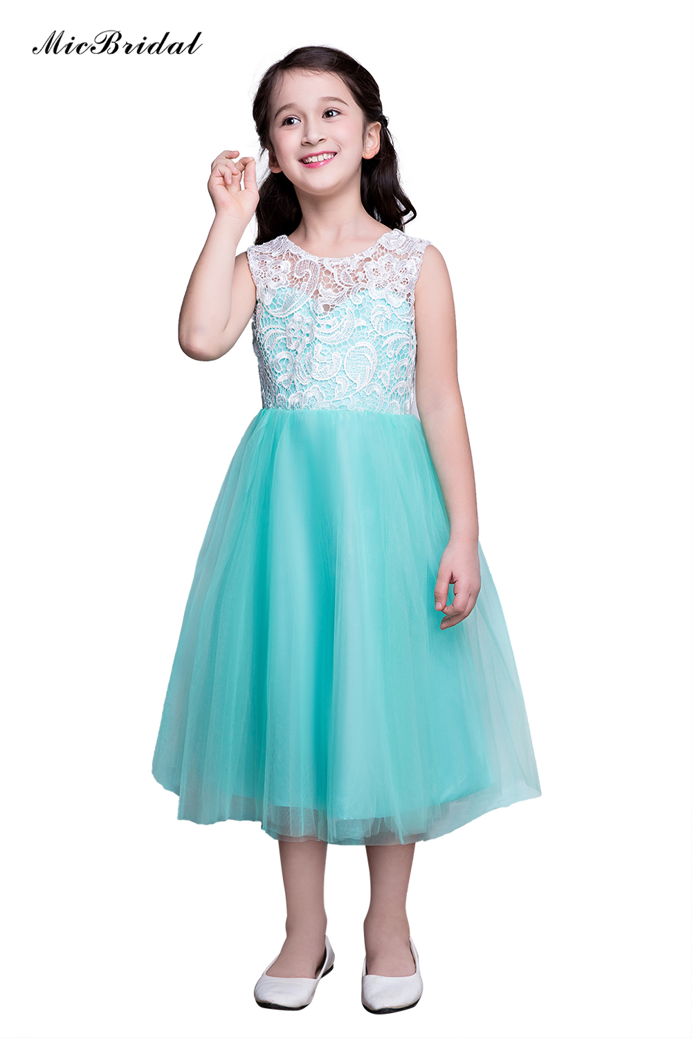 MicBridal Girls\' A Lined Tea Length Lace&Tulle Material Buttons ...