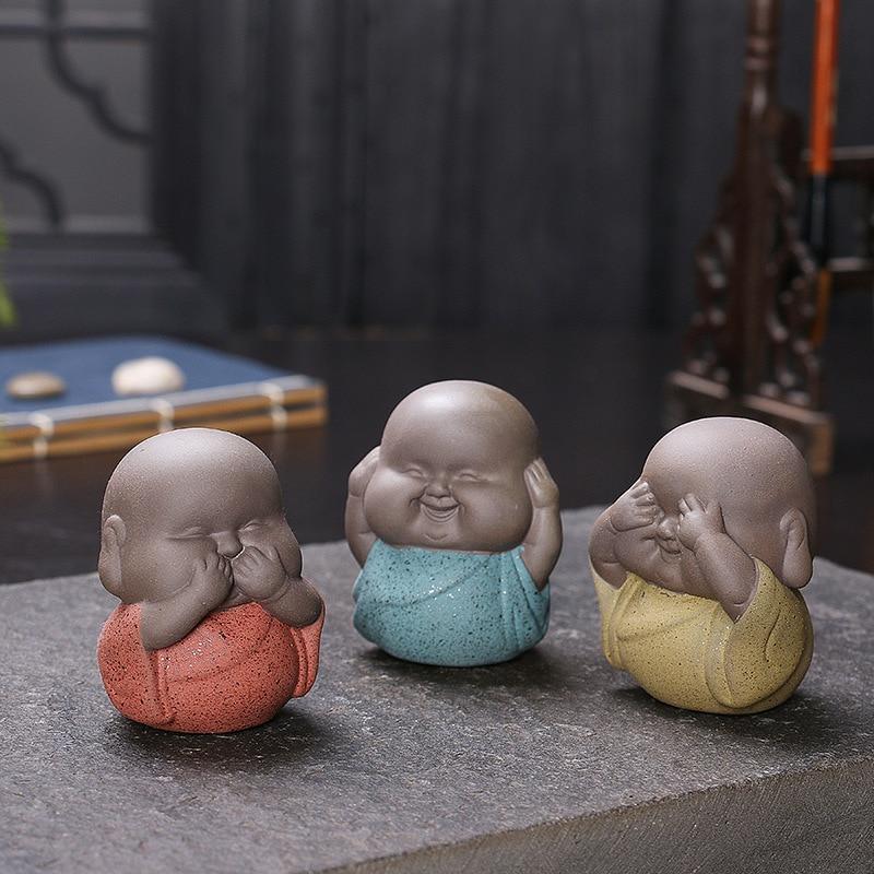 3pcs Mini Buddha Statues Monks Decorative Sculptures Ceramic Figurine India Yoga Home Monks Sculpture Buda Dropshipping