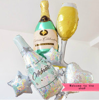 Free Shipping New 4pcs Lot Bottle Of Red Wine Glass Of Champagne Birthday Party Balloons Suit