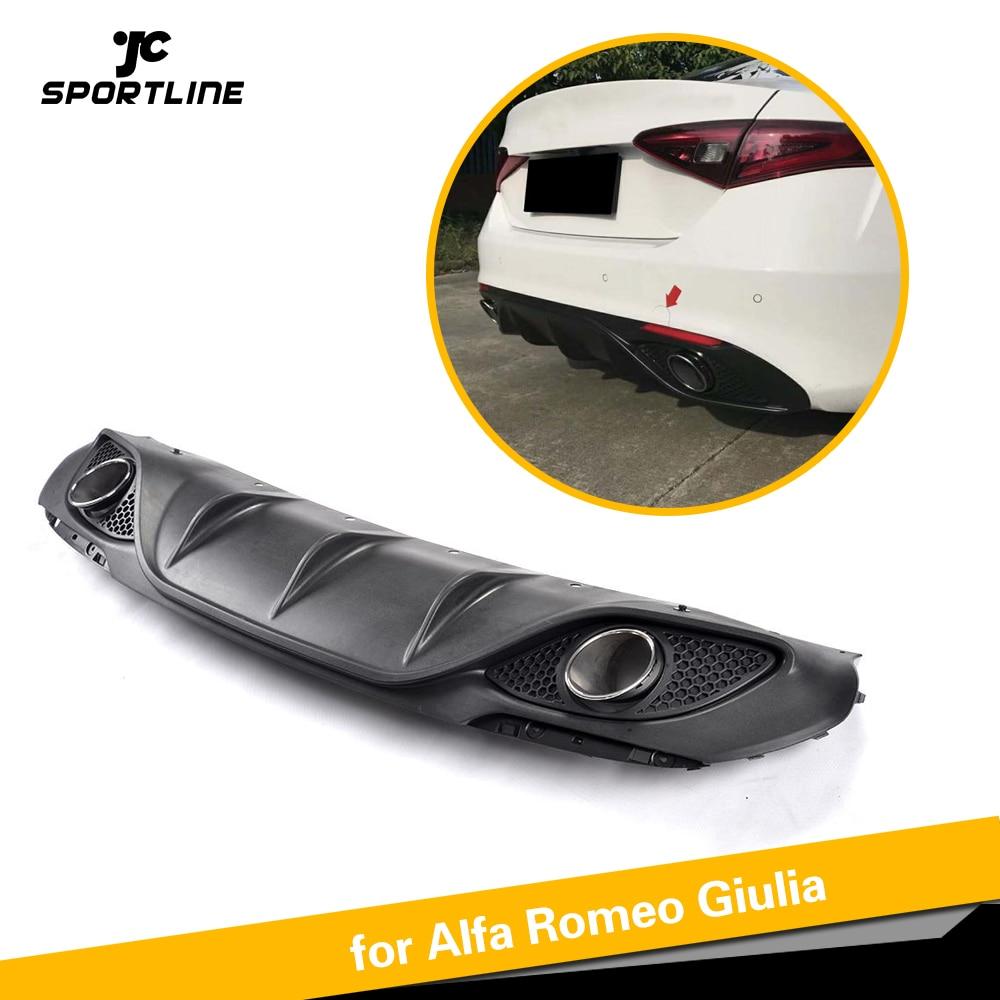 Black PP Car Rear Bumper Lip Diffuser With Exhaust for Alfa Romeo Giulia Sedan 4 Door 2016 2017 Quadrifoglio TI