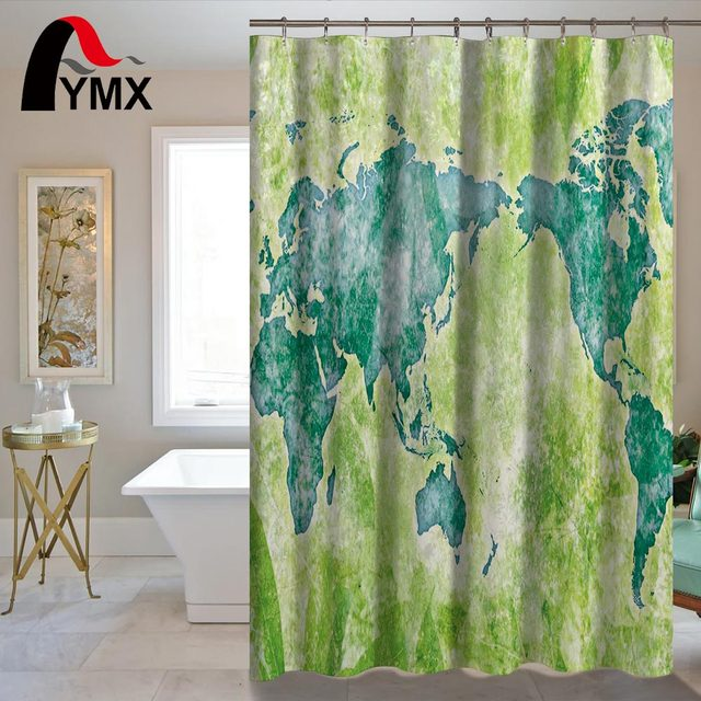 Waterproof Simple World Map Shower Curtain For The Bathroom