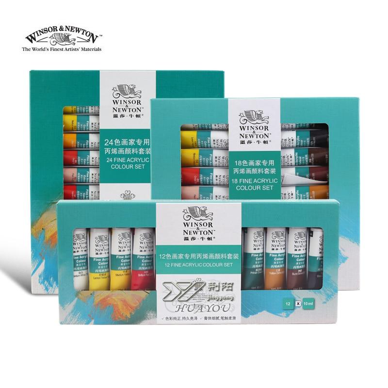 цена на Freshipping Winsor Newton 18 color Acrylic paint colours set wall clothes color ceramic acrylic paint professional DIY art lam
