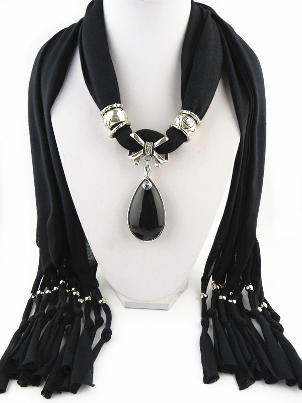 12Pcs/Lot Fashion tassel scarf new design black crystal pendant Free Shipping