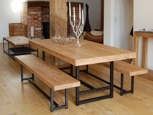Loft Vintage Pine Dining Table And Chairs Courtyard Simple Wooden Furniture Wrought Iron Wood Residential Dinette In Tables From