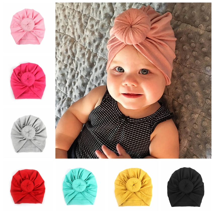 Yundfly Baby Turban Hat With Knot Round Ball Caps Cotton Blend Newborn Beanie Kids Photo Props Shower Gift