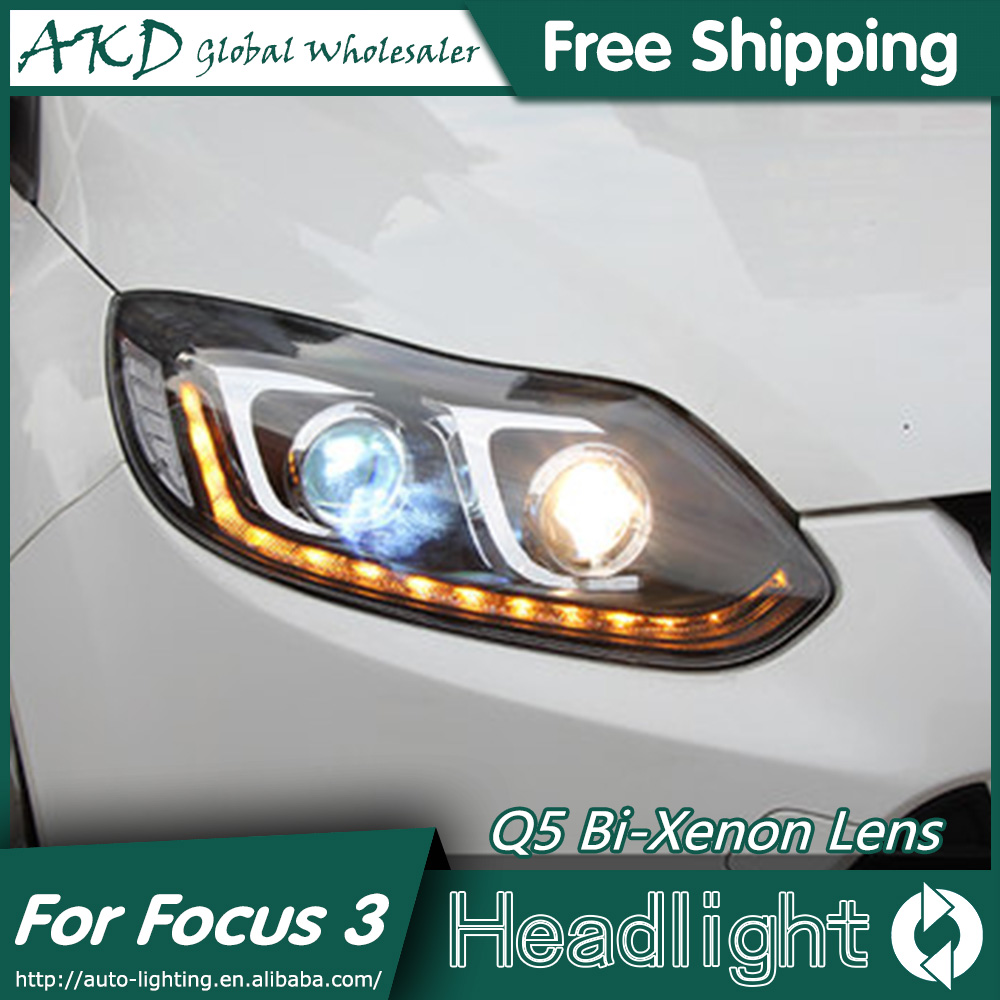 AKD Car Styling for Ford Focus Headlights 2012-2014 Focus 3 LED Headlight DRL Bi Xenon Lens High Low Beam Parking Fog Lamp car styling led head lamp for ford focus2 headlights 2009 2012 focus led headlight turn signal drl h7 hid bi xenon lens low beam