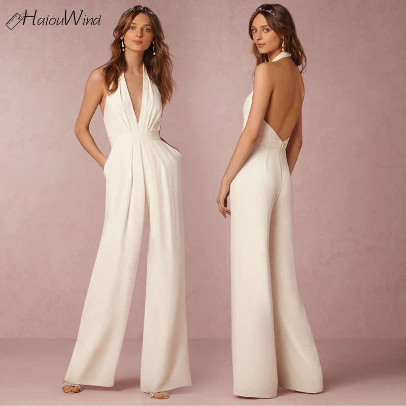 5f8a6814d27 Women Elegant Backless Jumpsuits Sexy Halter Neck Sleeveless Rompers Wide  Leg Ladies Overalls Combinaison Femme Wedding