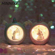 Hinnixy Unicorn LED Night Light Pink Blue Cute Lamp For Children  Kids Girls Toy Animal Bedroom Decor Lighting Birthday Gifts