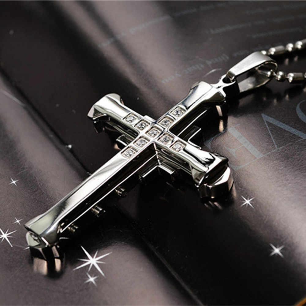 W stylu Vintage mężczyzna kryształ naszyjniki krzyż wisiorek Choker ze stali nierdzewnej wisiorek naszyjnik biżuteria akcesoria dla mężczyzn naszyjnik Aneis