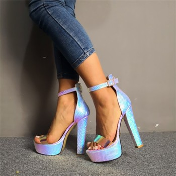 SHOFOO shoes,Beautiful fashion free shipping, fluorescent color, 15 cm high-heeled sandals, women's sandals. SIZE: 34-45