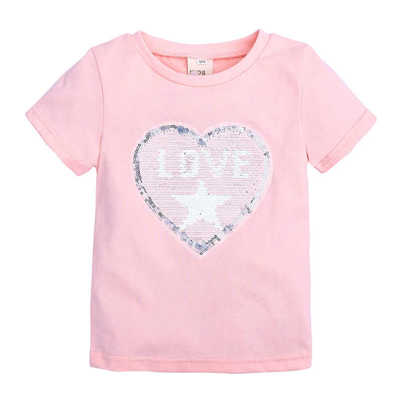Toddler Boys and Girls Heart Pattern Summer T-Shirts Reversible Sequins Letter Kids Fashion Funny Tees Baby Cotton Tops