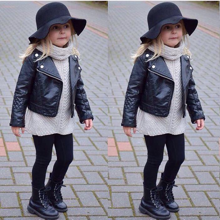 New Girls Punk Slim Biker Motorcycle Short Jacket Lapel PU Leather Coat Outwear