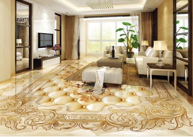 Custom d vloer behang voor badkamer kamer vinyl behang marmer