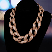 BOJIU Fashion Jewelry Choker Necklace Plastic Chain Link Necklace Women Maxi Necklace Winter Color NK1011