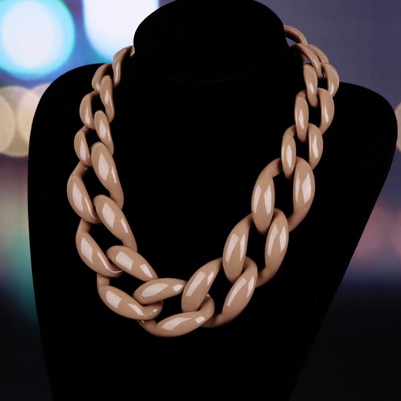 Prix pour Bijoux de mode collier ras du cou en plastique chaîne lien collier femmes maxi collier d'hiver couleur
