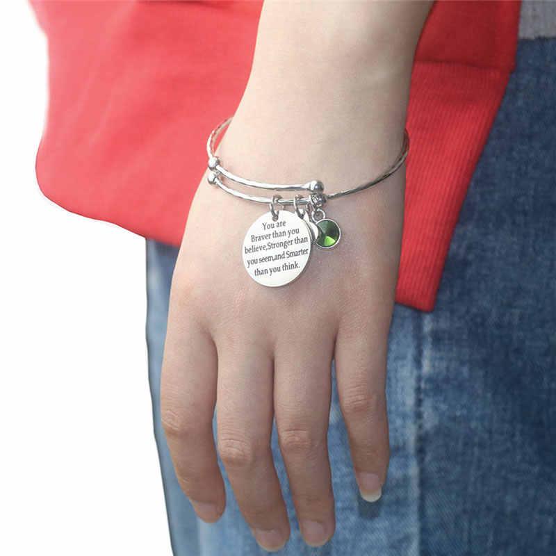 מכתב מתכוונן צמידי צמידי 12 אבן המזל CZ קסם כסף צבע חוט צמידי יום הולדת מסיבת Tiffan תכשיטי נקבה