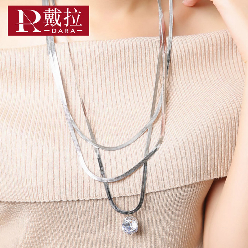 DARA New Fashion Women Elegant Noble Long Necklace Crystal Pendant Necklace Swearter Chain Chic Jewelry Party Beautiful Gift Hot