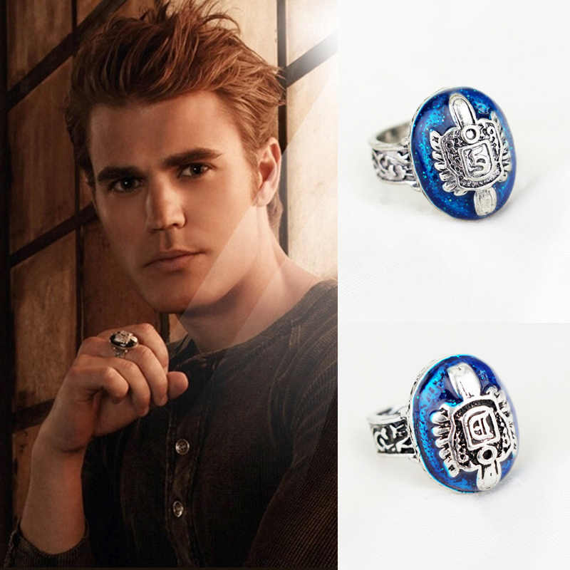The Vampire Diaries Ring Anillos Salvatore Damon Reborn Ring Aneis Stefan finger Family Crest RING Vintage Ornaments