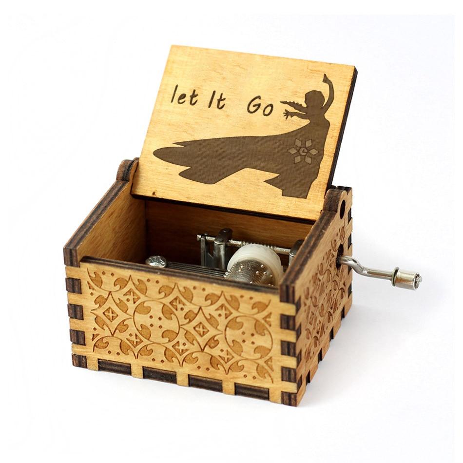 Деревянная музыкальная шкатулка для игры в трон, подарок на Рождество, день рождения, год, подарок для детей - Цвет: let le go