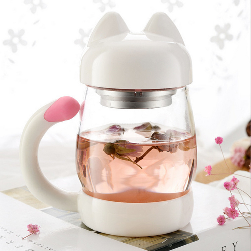 New Cartoon Glass Mug Coffee Tea Mugs 420ml Cute Cat Mug Watter Bottle Drinkware Creative Cat Cup Transparent Glass