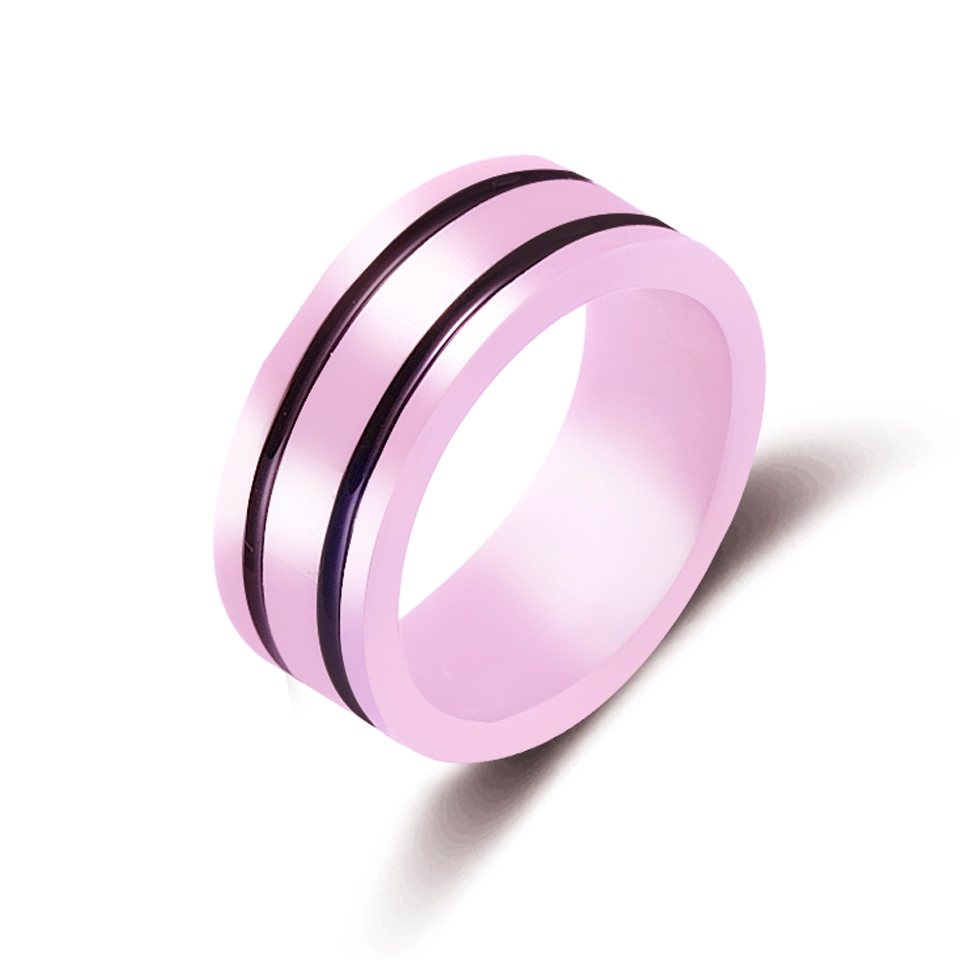 New 8mm Light Pink 2 Row Black Beautiful Hand Cut Ceramic Ring For ...