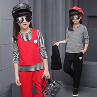 2017 Spring New Product Girl Child Pure Cotton Three Piece Smiling Face Stripe Motion Leisure Time