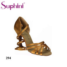 Free Shipping Suphini Basic 5 Straps Design Latin Salsa Shoes Deep tan satin Professional Latin Dance