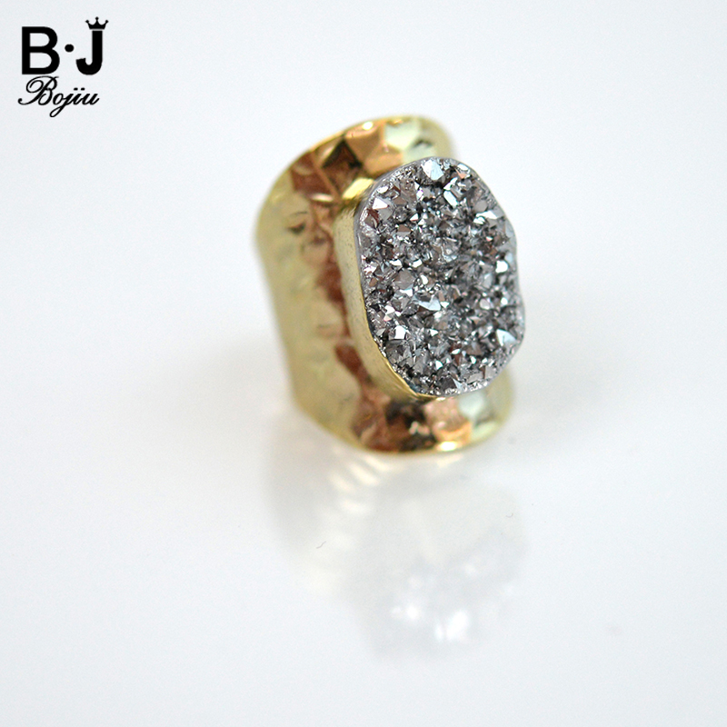 Bojiu Natural Druzy Stone Ring Adjustable Size Rings For Women Copper Gold Color Quartz Women's Rings Fashion Jewelry For Party