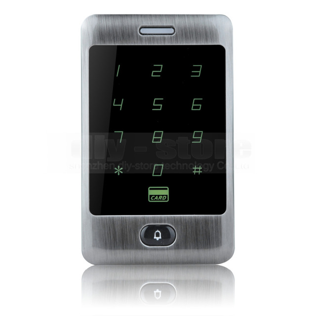 DIYSECUR Door Bell Button 125KHz RFID Card Reader Touch Panel Backlight Metal Case Password Keypad For Access Control System Kit