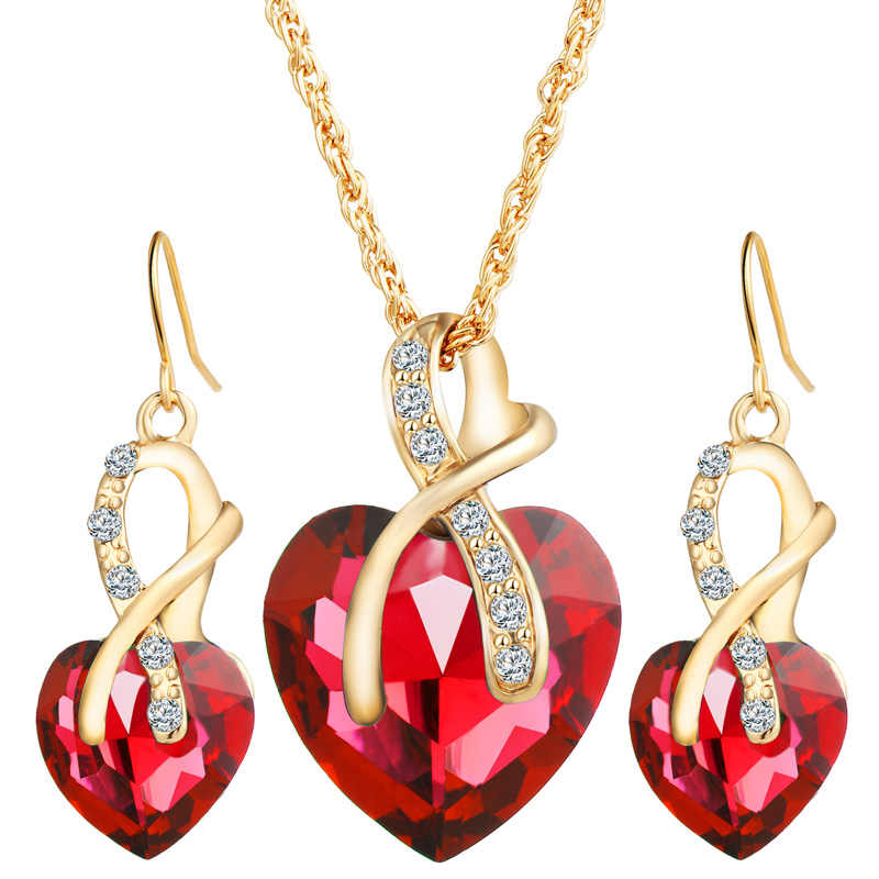 Fashion Luxury Wedding jewelry sets Party Necklace Earrings Zircon Embellishment Charm Women Party Gift Fitting