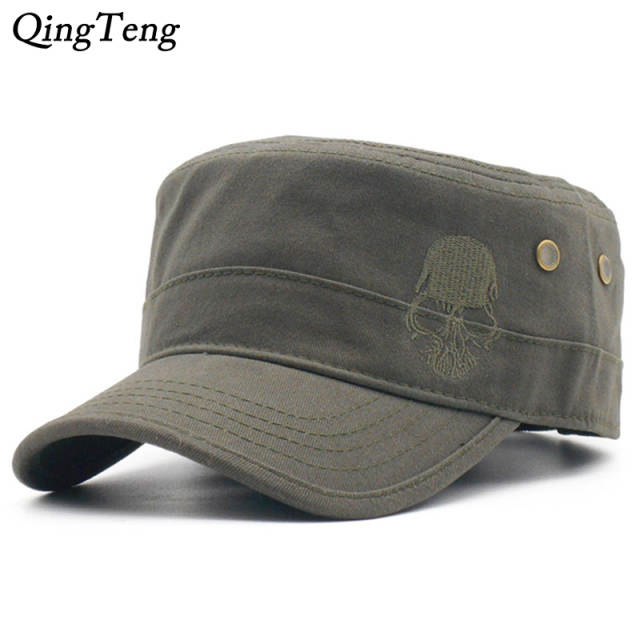cf4cb16575235 US $7.21 30% OFF|Men Baseball Caps Skull Embroidered Logo Flat Top Hats  Cotton Snapback Flat Cap Army Cadet Hat Women Gorros Hombre Hip Hop-in ...