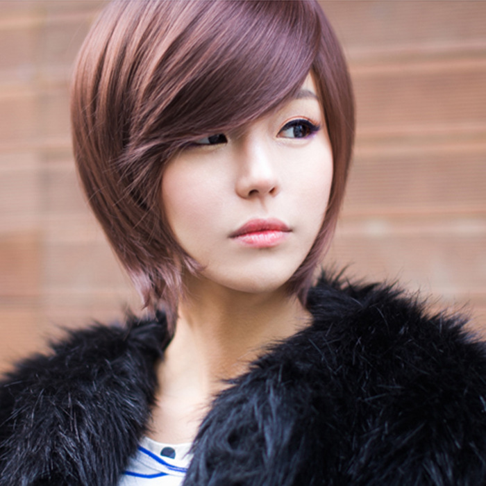 Bobo Wig Oblique Bangs Short Hair Handsome Head Temperament Korean