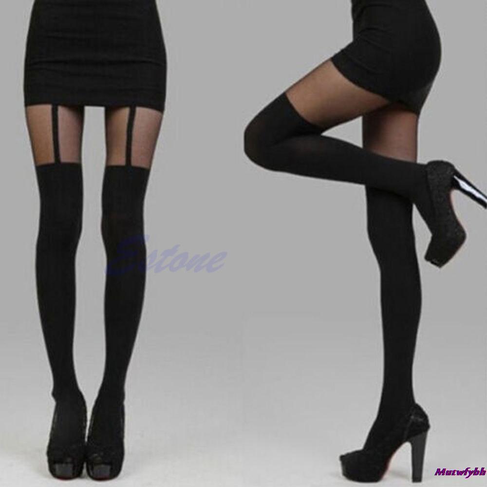 Black Sexy Women Fake Garter Belt Stockings Leggings Thigh-Highs Pantyhosen