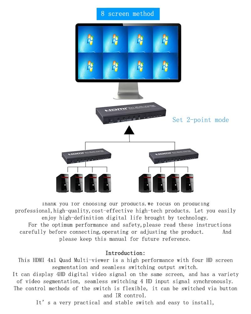 1 Stücke 3d 1080 P 4x1 Quad Multi-viewer Mit Pip Unterstützung Nahtlose Schalter Hd Hdmi Video Splitter Konform Für Projektor Monitor Bequem Zu Kochen