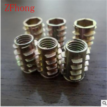 M4 M5 M6 M8 Zinc Alloy Unhead Wood Insert Nut Hex Drive Head Furniture Nuts length 8mm to 25mm