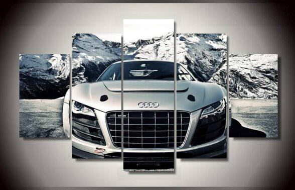printed audi car 5 piece picture painting wall art. Black Bedroom Furniture Sets. Home Design Ideas