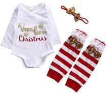 4pcs Set 2017 New Kids Christmas Clothes Newborn Infant Kids Baby Girl Cotton Romper+Leg Warmer+Headband Clothes Outfit Set