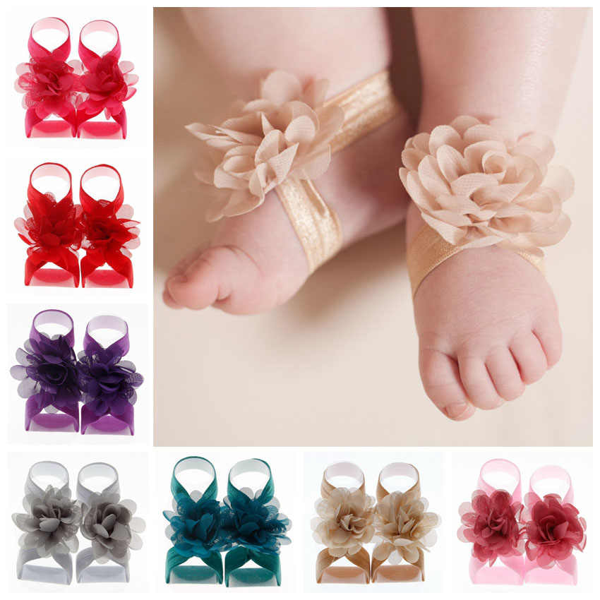 New Hot Cute Mini Chiffon Flower Baby Barefoot Sandals first walkers Flower Foot Toddler flower Shoes Baby Girls Accessories