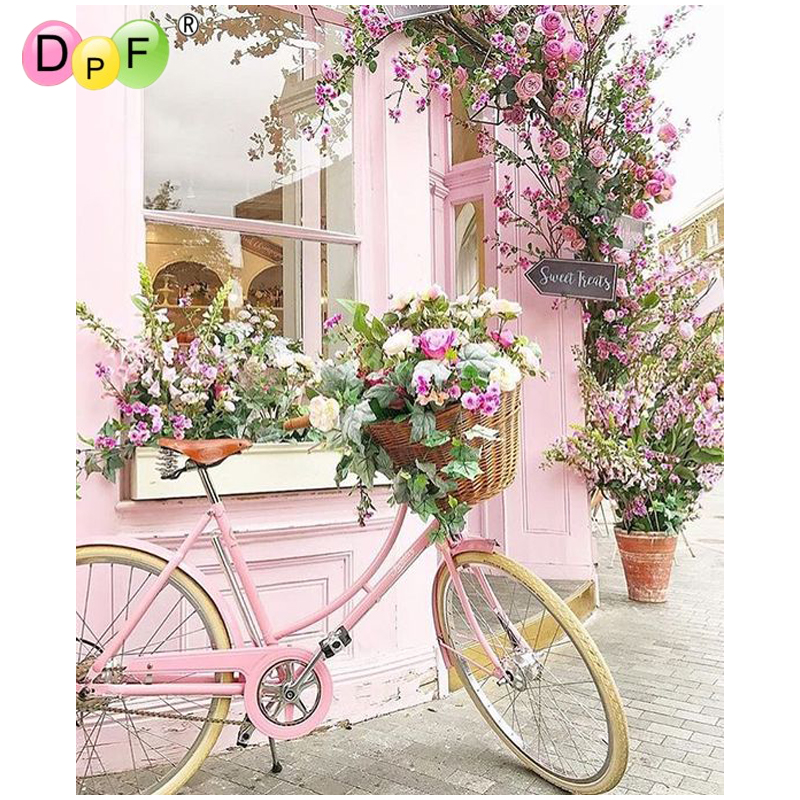 DPF DIY Bicycle Flower 5D Square Diamond Painting Cross Stitch Crafts Diamond Embroidery Wall Painting Home Decor Mosaic